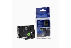 Brother TZ-355 / TZe-355, 24mm x 8m, fehér nyomtatás / fekete alapon, kompatibilis szalag