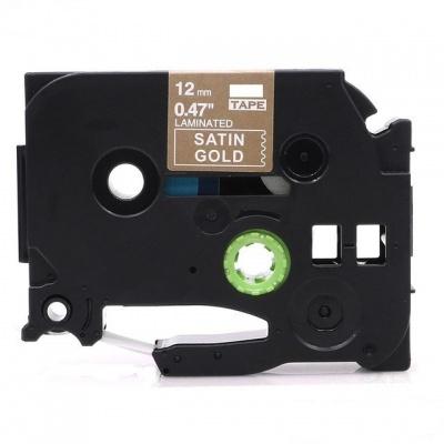 Brother TZ-MQ835/TZe-MQ835, 12mm x 5m, fehér nyomtatás / világos arany alapon, kompatibilis szalag