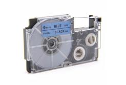 Utángyártott szalag Casio XR-6BU1, 6mm x 8m fekete nyomtatás / kék alapon