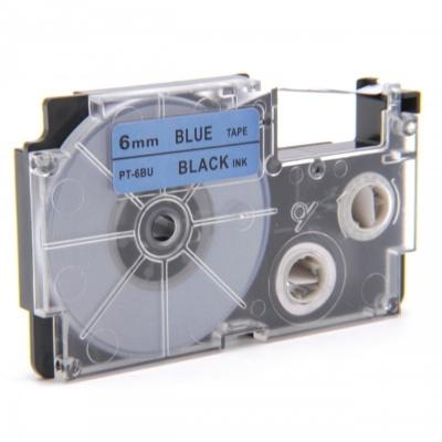 Casio XR-6BU1, 6mm x 8m fekete nyomtatás / kék alapon, kompatibilis szalag