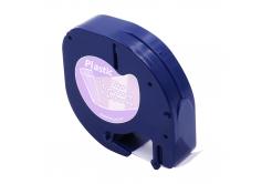 Dymo 12267 LetraTag 12mm x 4m, fekete nyomtatás / átlátszó alapon, kompatibilis szalag