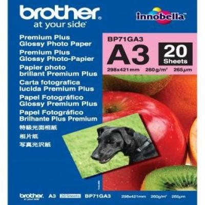 Brother BP71GA3 Glossy Photo Paper, fotópapírok, fényes, fehér, A3, 260 g/m2, 20 db