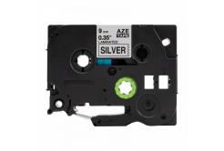 Brother TZ-921 / TZe-921, 9mm x 8m, fekete nyomtatás / ezüst alapon, kompatibilis szalag