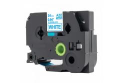 Brother TZ-FX253 / TZe-FX253, 24mm x 8m, flexi, kék nyomtatás / fehér alapon, kompatibilis szalag