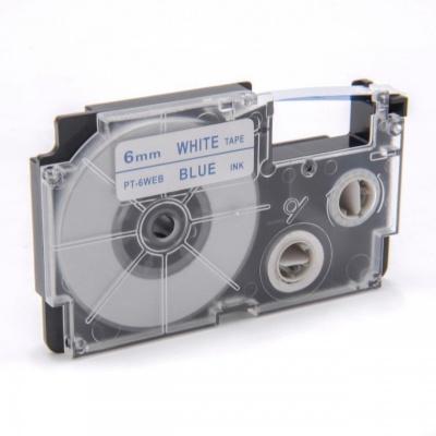 Casio XR-6WEB 6mm x 8m kék nyomtatás / fehér alapon, kompatibilis szalag