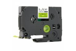 Brother TZ-C21/TZe-C21, rikítós 9mm x 8m, fekete nyomtatás/sárga alapon, kompatibilis szalag