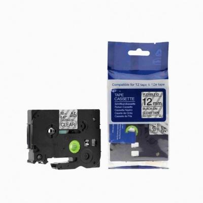 Brother TZ-FX131/TZe-FX131, 12mm x 8m, flexi fekete nyomtatás/ átlátszó alapon, kompatibilis szalag