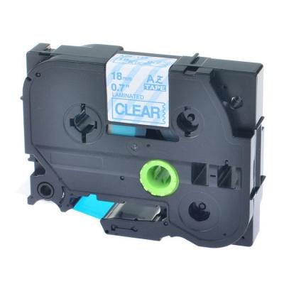 Brother TZ-143 / TZe-143, 18mm x 8m, kék nyomtatás / átlátszó alapon, kompatibilis szalag