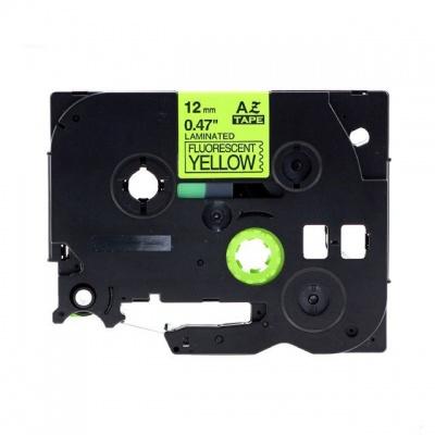 Brother TZ-C31/TZe-C31, rikítós 12mm x 8m, fekete nyomtatás/sárga alapon, kompatibilis szalag