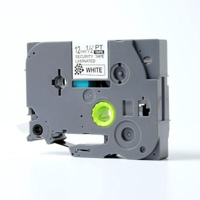 Brother TZ-SE3 / TZe-SE3, 12mm x 8m, fekete nyomtatás / fehér alapon, biztonság, kompatibilis szalag