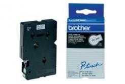 Brother TC-291, 9mm x 7,7m, fekete nyomtatás / fehér alapon, eredeti szalag