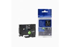 Brother TZ-325 / TZe-325, 9mm x 8m, fehér nyomtatás / fekete alapon, kompatibilis szalag