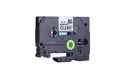 Brother TZ-FX111/TZe-FX111, 6mm x 8m, flexi, fekete nyomtatás / átlátszó alapon, kompatibilis szalag