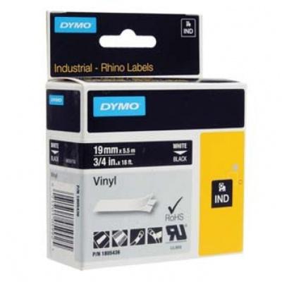 Dymo Rhino 1805436, 19mm x 5,5m, fehér nyomtatás / fekete alapon, eredeti szalag