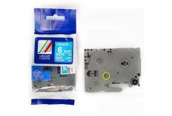 Utángyártott szalag Brother TZ-515 / TZe-515, 6mm x 8m, fehér nyomtatás / kék alapon