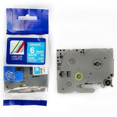 Brother TZ-515 / TZe-515, 6mm x 8m, fehér nyomtatás / kék alapon, kompatibilis szalag