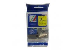 Brother TZ-S641/TZe-S641 18mm x 8m erősen ragadó, fekete nyomtatás/sárga alapon, kompatibilis szalag