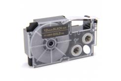 Casio XR-12BKG 12mm x 8m arany nyomtatás / fekete alapon, kompatibilis szalag