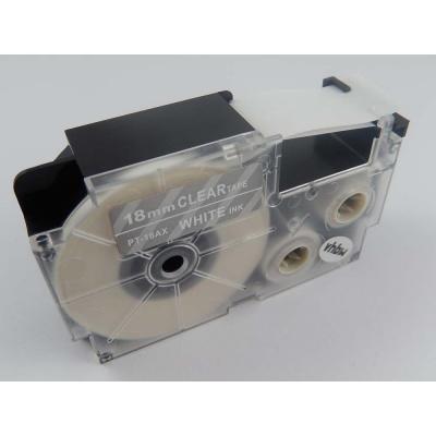 Casio XR-18AX 18mm x 8m fehér nyomtatás / átlátszó alapon, kompatibilis szalag