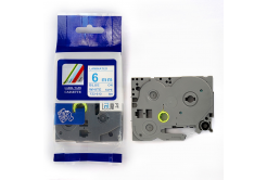 Utángyártott szalag Brother TZ-213 / TZe-213, 6mm x 8m, kék nyomtatás / fehér alapon