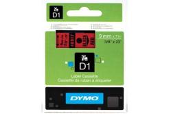 Dymo D1 40917, S0720720, 9mm x 7m, fekete nyomtatás / piros alapon, eredeti szalag