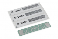 "Zebra RFID Label, 45x13mm, Printable White PET, 3"" core, 800/roll,"