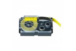 Casio XR-12YW1, 12mm x 8m fekete nyomtatás / sárga alapon, kompatibilis szalag
