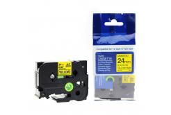 Brother TZ-S651/TZe-S651 24mm x 8m erősen ragadó, fekete nyomtatás/sárga alapon, kompatibilis szalag