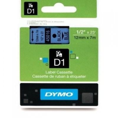 Dymo D1 45016, S0720560, 12mm x 7m fekete nyomtatás / kék alapon, eredeti szalag