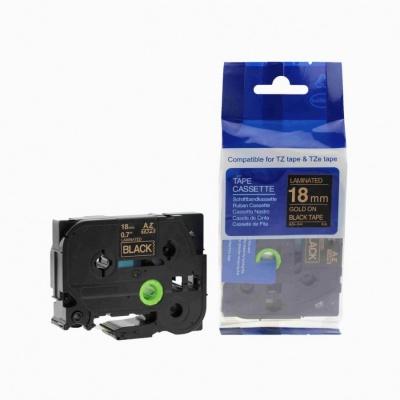Brother TZ-344 / TZe-344, 18mm x 8m, arany nyomtatás / fekete alapon, kompatibilis szalag