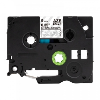 Brother TZ-S125 / TZe-S125, 9mm x 8m, extr.adh. fehér nyomtatás / átlátszó alapon, kompatibilis szalag