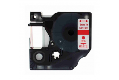 Dymo 40915, 9mm x 7m piros nyomtatás / fehér alapon, kompatibilis szalag