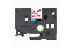 Brother TZ-FX222 / TZe-FX222, 9mm x 8m, flexi, piros nyomtatás / fehér alapon, kompatibilis szalag