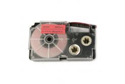 Casio XR-12FRD , 12mm x 8m, fekete nyomtatás /fluoreszkáló piros alapon, utángyártott szalag