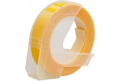 Dymo Omega, 9mm x 3m, fehér nyomtatás / sárga alapon, kompatibilis szalag