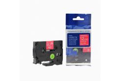 Brother TZ-435 / TZe-435, 12mm x 8m, fehér nyomtatás / piros alapon, kompatibilis szalag