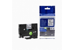 Brother TZ-211 / TZe-211, 6mm x 8m, fekete nyomtatás / fehér alapon, kompatibilis szalag