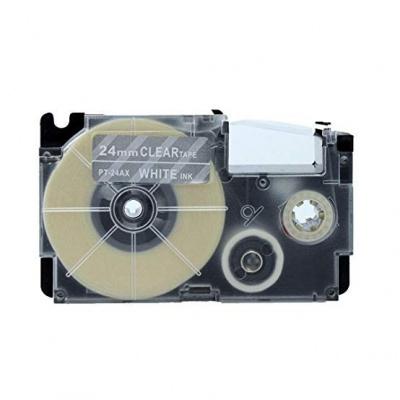 Casio XR-24AX 24mm x 8m fehér nyomtatás / átlátszó alapon, kompatibilis szalag