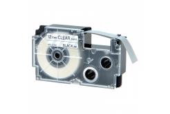 Casio XR-12AX 12mm x 8m fekete nyomtatás / átlátszó alapon, kompatibilis szalag