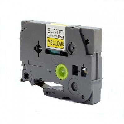 Brother TZ-S611/TZe-S611 6mm x 8m erősen ragadó, fekete nyomtatás/sárga alapon, kompatibilis szalag