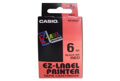 Casio XR-6RD1, 6mm x 8m, fekete nyomtatás / piros alapon, eredeti szalag