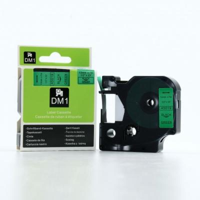 Dymo D1 45019, S0720590, 12mm x 7m fekete nyomtatás / zöld alapon, eredeti szalag