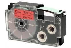 Casio XR-12RD1, 12mm x 8m, fekete nyomtatás / piros alapon, eredeti szalag