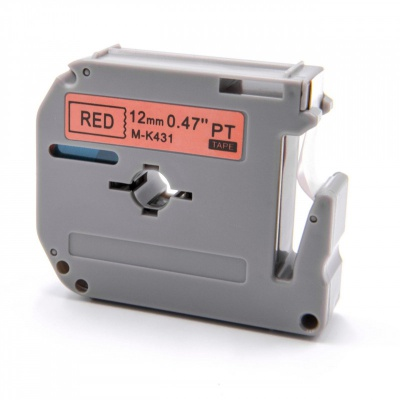 Brother MK-431, 12mm x 8m, fekete nyomtatás / piros alapon, kompatibilis szalag