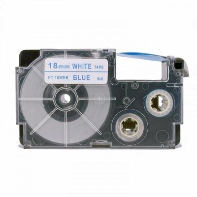 Casio XR-18WEB 18mm x 8m kék nyomtatás / fehér alapon, kompatibilis szalag