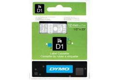 Dymo D1 45020, S0720600, 12mm x 7m, fehér nyomtatás / átlátszó alapon, eredeti szalag