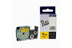 Casio XR-9YW1, 9mm x 8m fekete nyomtatás / sárga alapon, kompatibilis szalag