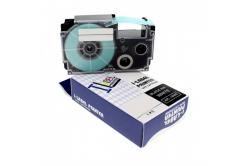 Casio XR-12SR1 12mm x 8m fekete nyomtatás / ezüst alapon, kompatibilis szalag