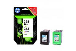 HP eredeti tintapatron SD449EE, HP 338 + HP 343, black/color, 480/330 oldal, 2 db, HP 2-Pack, C8765EE + C8766EE