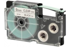 Casio XR-9X1, 9mm x 8m, fekete nyomtatás / átlátszó alapon, eredeti szalag